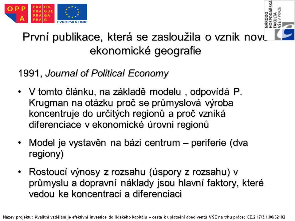 První publikace, která se zasloužila o vznik nové ekonomické geografie 1991, Journal of Political Economy V tomto článku, na základě modelu, odpovídá P.