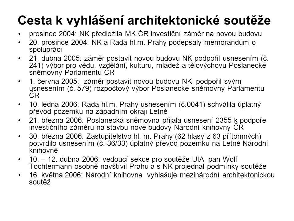 Cesta k vyhlášení architektonické soutěže prosinec 2004: NK předložila MK ČR investiční záměr na novou budovu 20. prosince 2004: NK a Rada hl.m. Prahy
