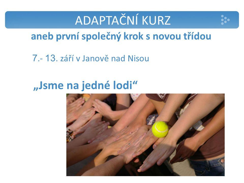 """ADAPTAČNÍ KURZ aneb první společný krok s novou třídou """"Jsme na jedné lodi 7.- 13."""