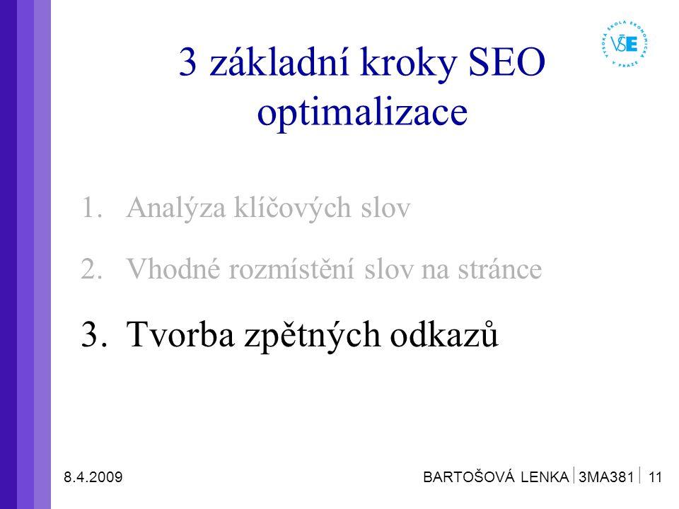 8.4.2009 BARTOŠOVÁ LENKA  3MA381  11 3 základní kroky SEO optimalizace 1.Analýza klíčových slov 2.Vhodné rozmístění slov na stránce 3.Tvorba zpětných odkazů