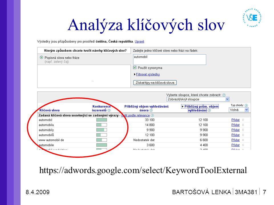 8.4.2009 BARTOŠOVÁ LENKA  3MA381  7 https://adwords.google.com/select/KeywordToolExternal Analýza klíčových slov