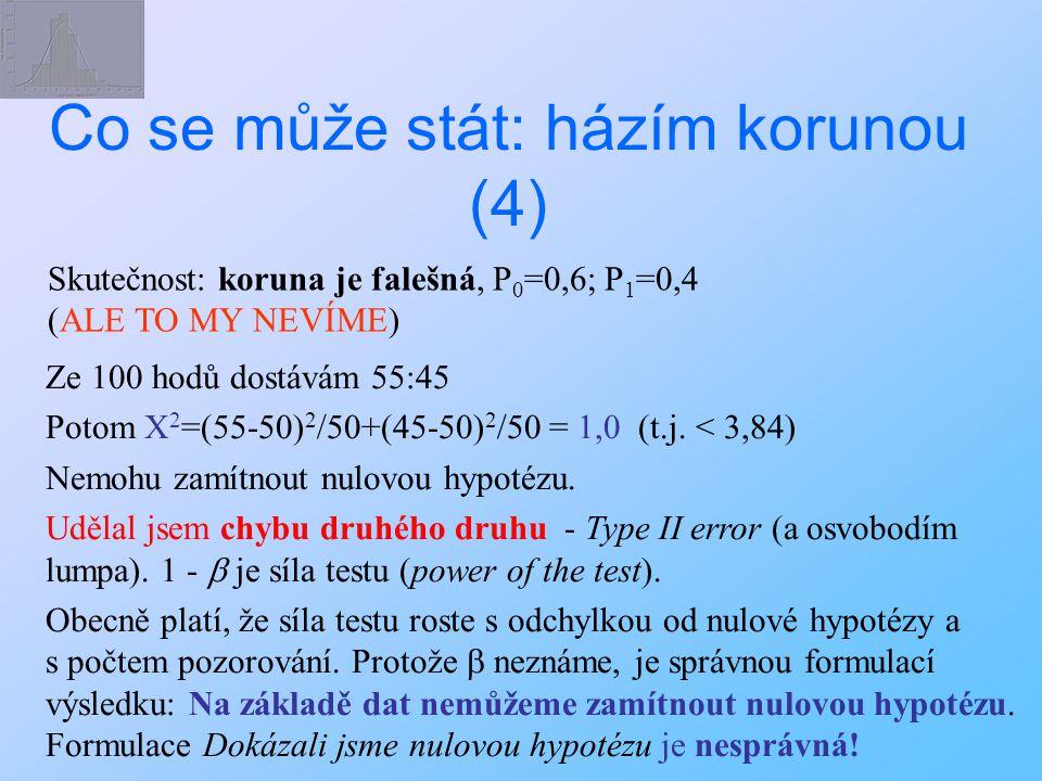 Skutečnost: koruna je falešná, P 0 =0,6; P 1 =0,4 (ALE TO MY NEVÍME) Ze 100 hodů dostávám 55:45 Potom X 2 =(55-50) 2 /50+(45-50) 2 /50 = 1,0 (t.j. < 3