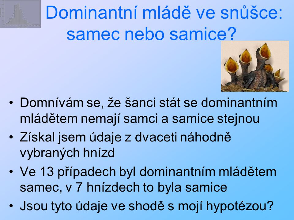 Dominantní mládě ve snůšce: samec nebo samice? Domnívám se, že šanci stát se dominantním mládětem nemají samci a samice stejnou Získal jsem údaje z dv