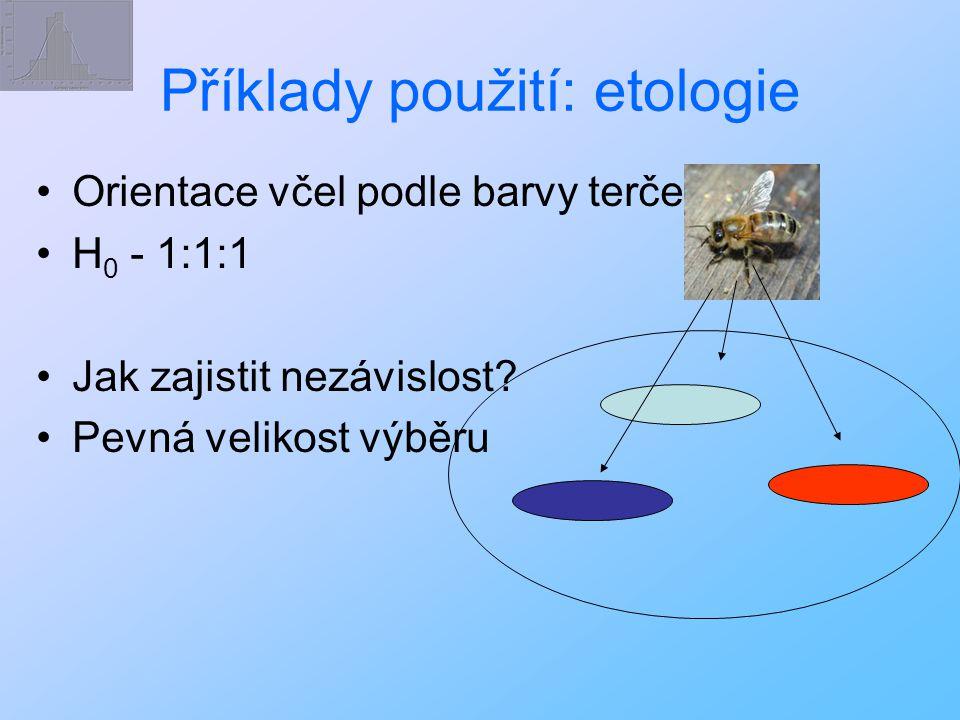 Příklady použití: etologie Orientace včel podle barvy terče H 0 - 1:1:1 Jak zajistit nezávislost? Pevná velikost výběru