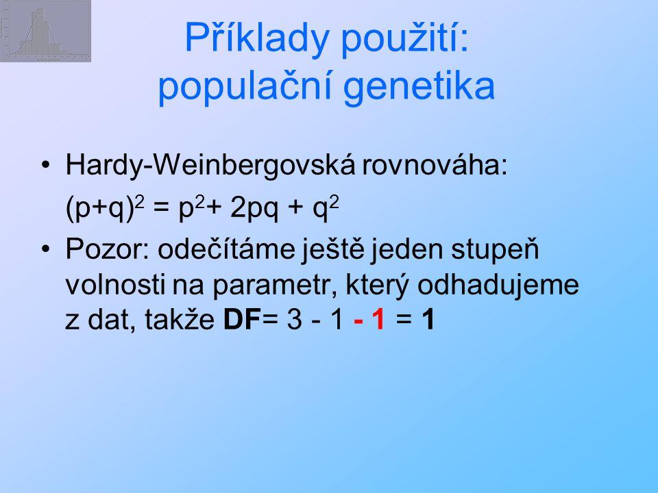 Příklady použití: populační genetika Hardy-Weinbergovská rovnováha: (p+q) 2 = p 2 + 2pq + q 2 Pozor: odečítáme ještě jeden stupeň volnosti na parametr