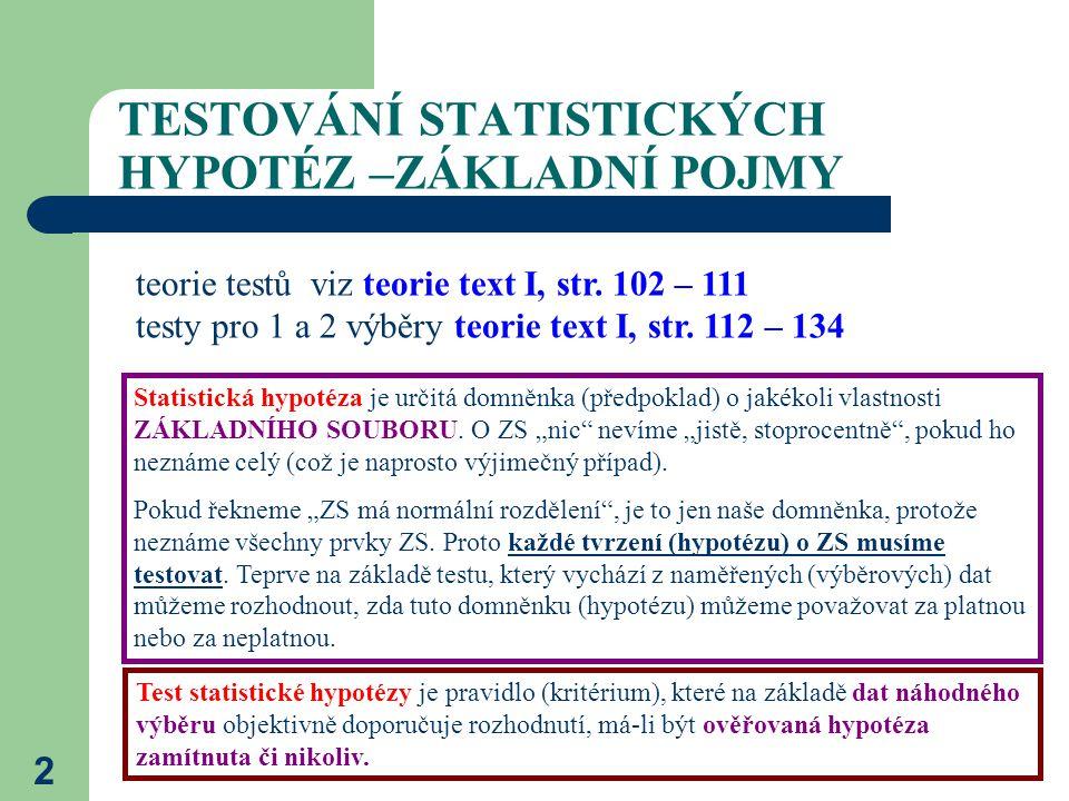 3 DRUHY HYPOTÉZ Testovaná hypotéza se nazývá nulová hypotéza (H 0 ).