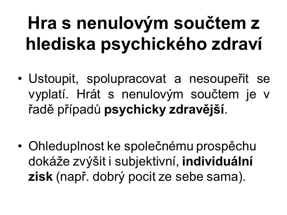 Hra s nenulovým součtem z hlediska psychického zdraví Ustoupit, spolupracovat a nesoupeřit se vyplatí.