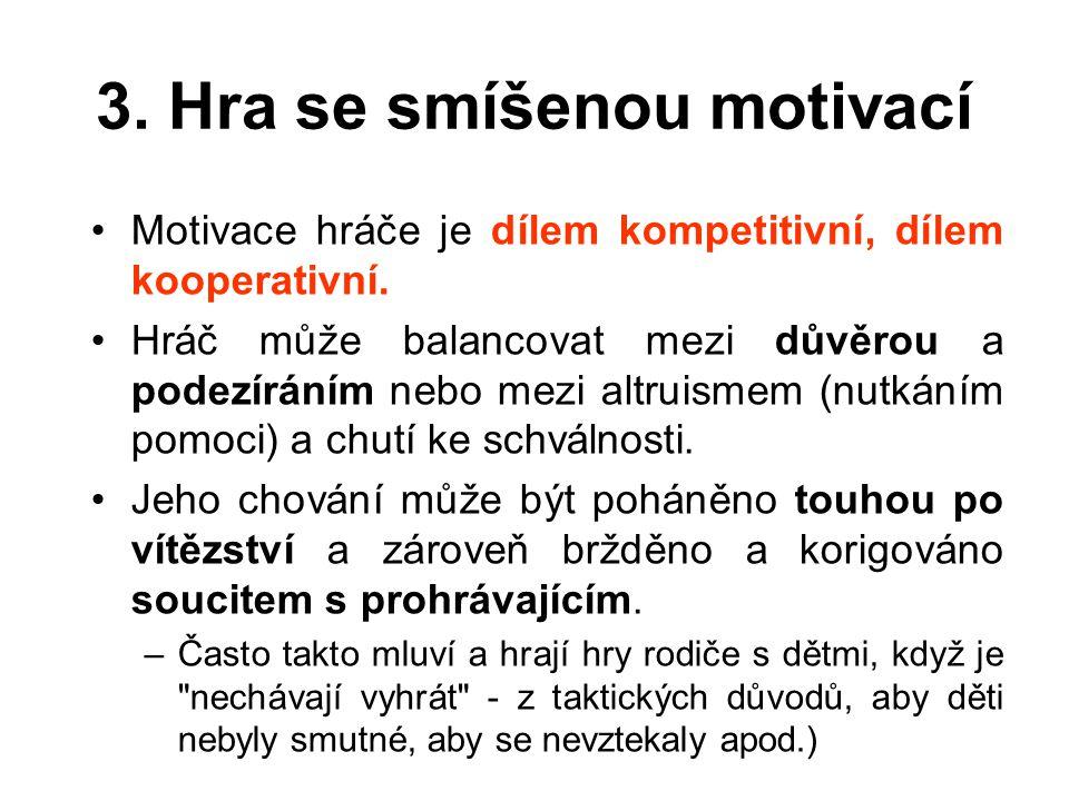 3.Hra se smíšenou motivací Motivace hráče je dílem kompetitivní, dílem kooperativní.