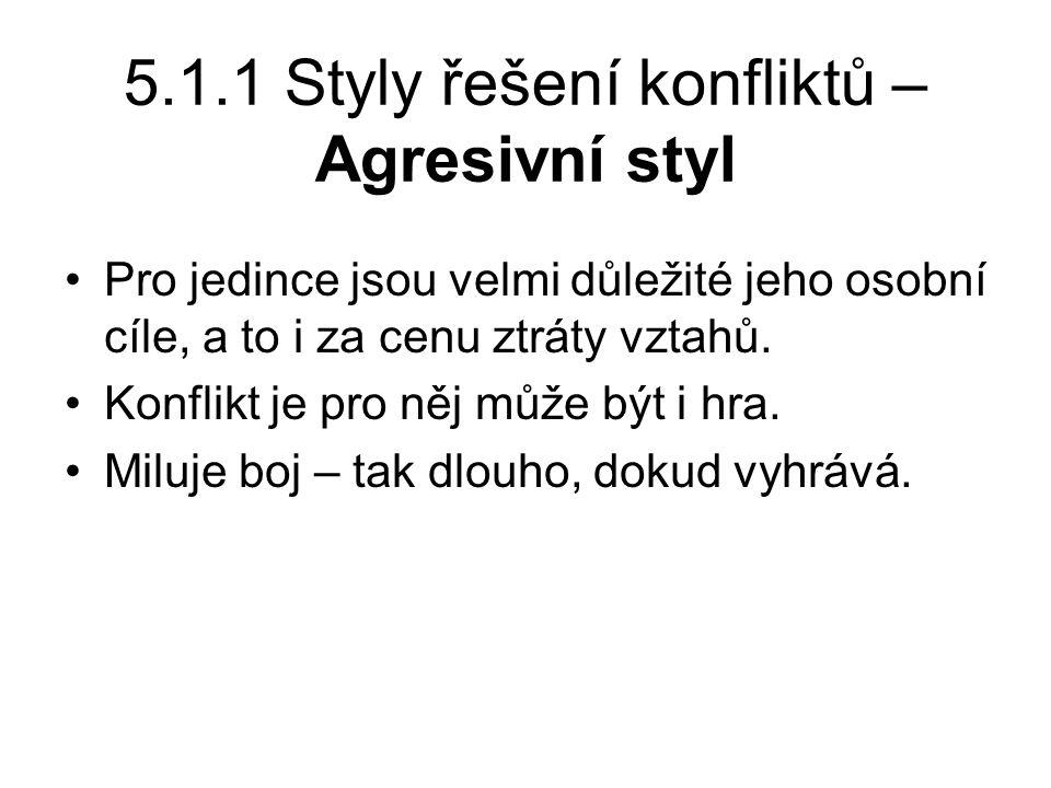 5.1.1 Styly řešení konfliktů – Agresivní styl Pro jedince jsou velmi důležité jeho osobní cíle, a to i za cenu ztráty vztahů.