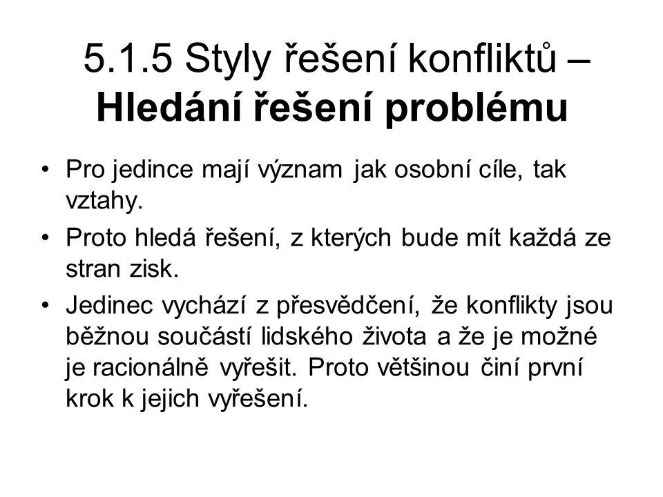 5.1.5 Styly řešení konfliktů – Hledání řešení problému Pro jedince mají význam jak osobní cíle, tak vztahy.