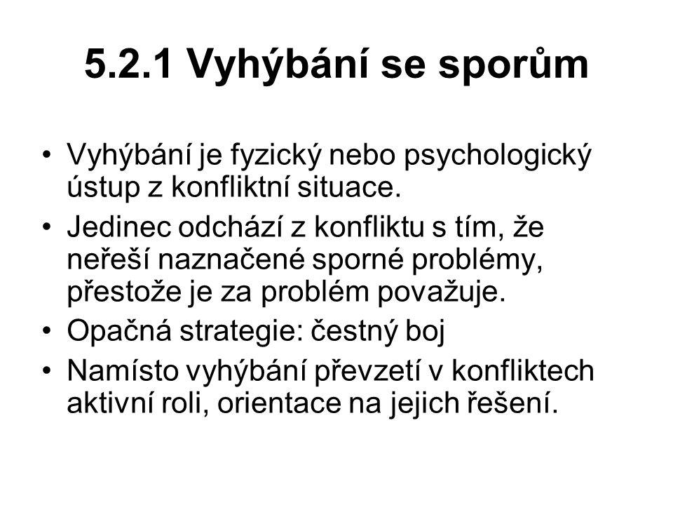 5.2.1 Vyhýbání se sporům Vyhýbání je fyzický nebo psychologický ústup z konfliktní situace.