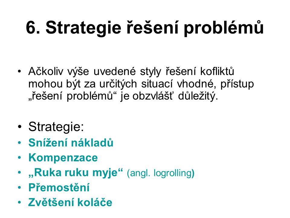 """6. Strategie řešení problémů Ačkoliv výše uvedené styly řešení kofliktů mohou být za určitých situací vhodné, přístup """"řešení problémů"""" je obzvlášť dů"""