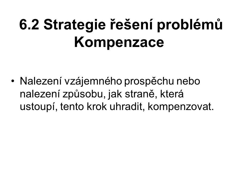 6.2 Strategie řešení problémů Kompenzace Nalezení vzájemného prospěchu nebo nalezení způsobu, jak straně, která ustoupí, tento krok uhradit, kompenzovat.