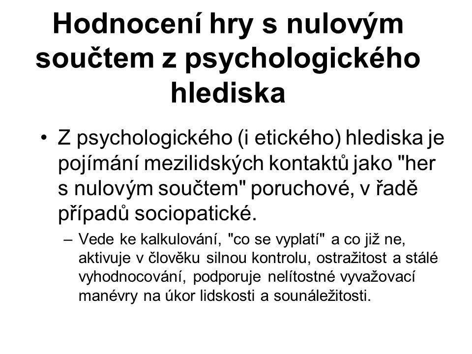 Hodnocení hry s nulovým součtem z psychologického hlediska Z psychologického (i etického) hlediska je pojímání mezilidských kontaktů jako her s nulovým součtem poruchové, v řadě případů sociopatické.
