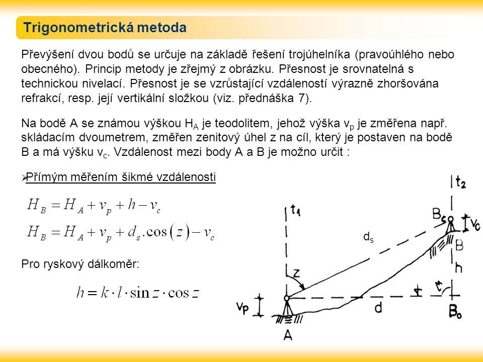 Trigonometrická metoda Převýšení dvou bodů se určuje na základě řešení trojúhelníka (pravoúhlého nebo obecného).