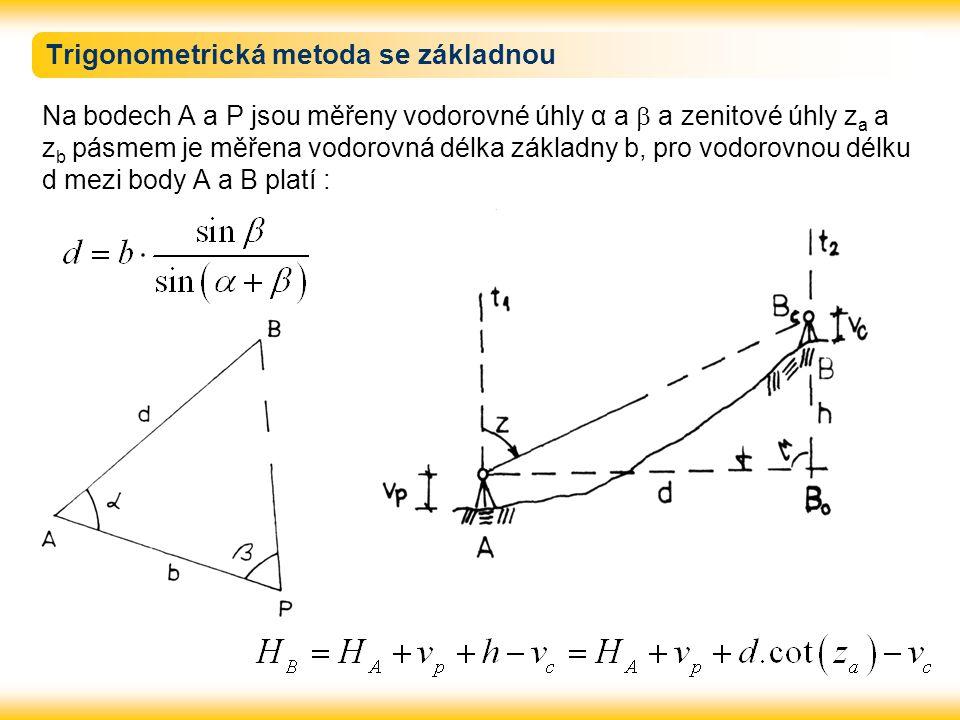 Trigonometrická metoda se základnou Na bodech A a P jsou měřeny vodorovné úhly α a  a zenitové úhly z a a z b pásmem je měřena vodorovná délka základny b, pro vodorovnou délku d mezi body A a B platí :