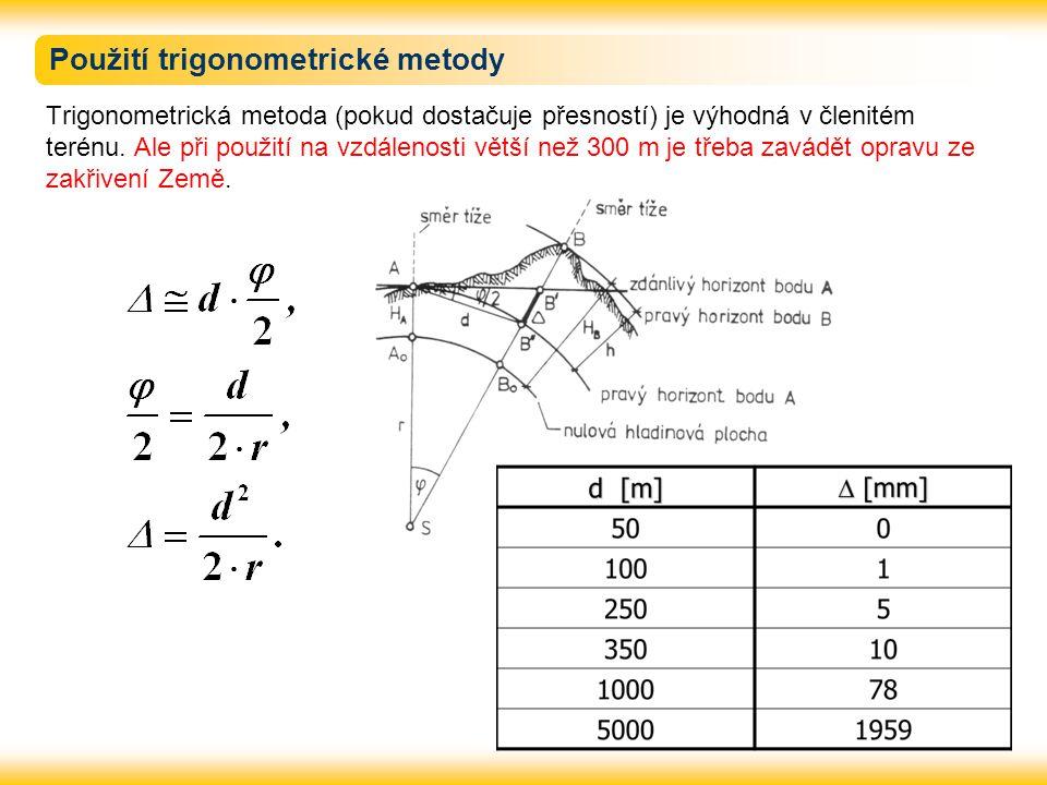 Použití trigonometrické metody Trigonometrická metoda (pokud dostačuje přesností) je výhodná v členitém terénu.