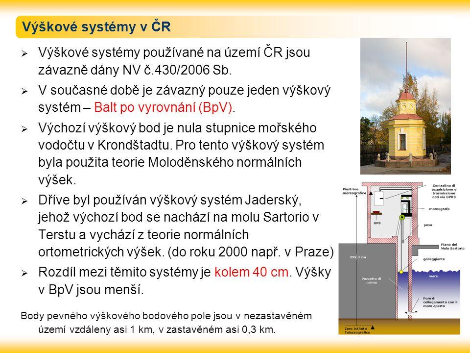 Výškové systémy v ČR  Výškové systémy používané na území ČR jsou závazně dány NV č.430/2006 Sb.