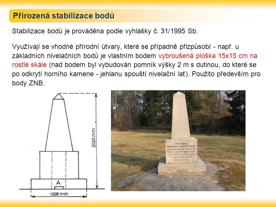 Přirozená stabilizace bodů Stabilizace bodů je prováděna podle vyhlášky č.