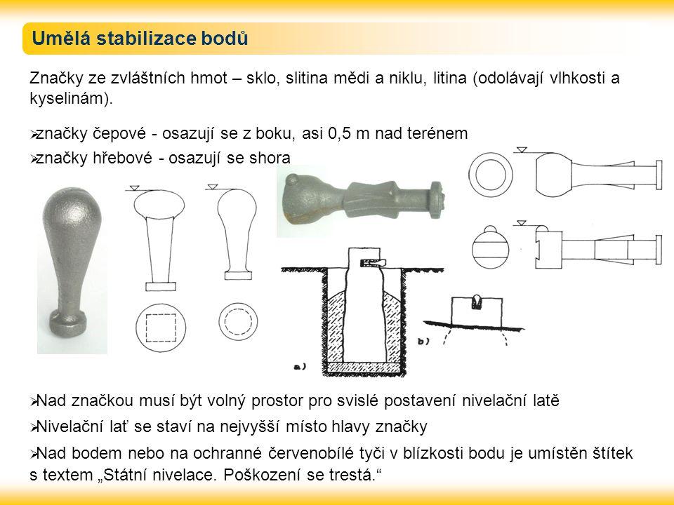 Umělá stabilizace bodů Značky ze zvláštních hmot – sklo, slitina mědi a niklu, litina (odolávají vlhkosti a kyselinám).