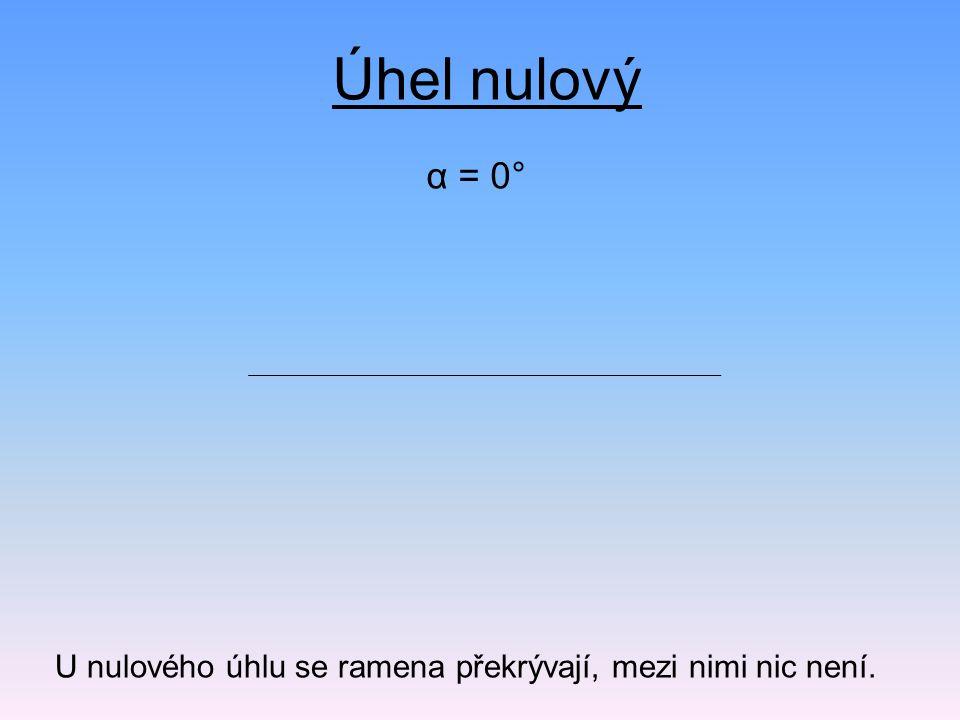α = 0° Úhel nulový U nulového úhlu se ramena překrývají, mezi nimi nic není.