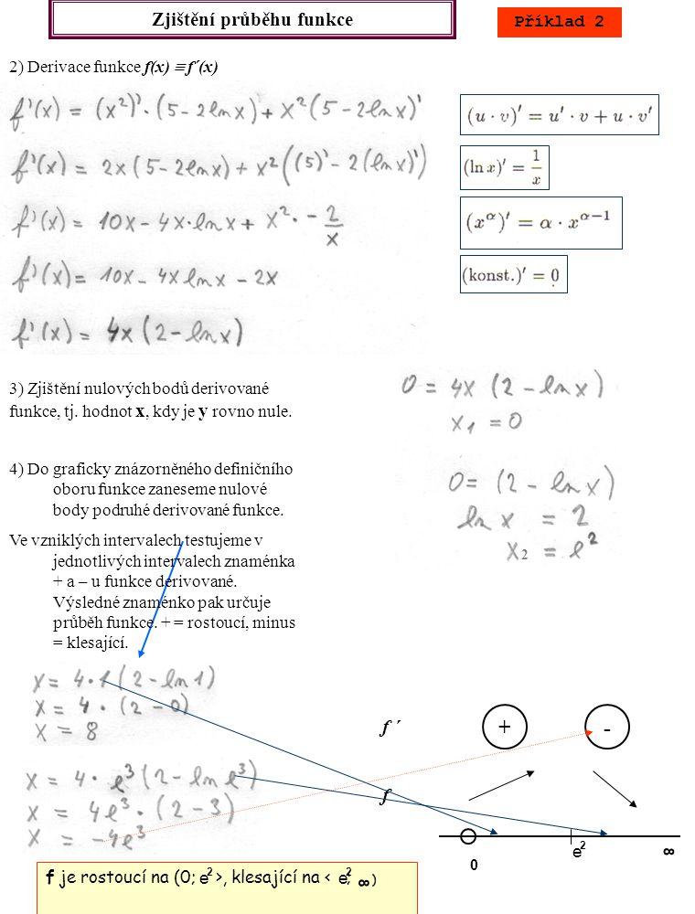 Zjištění průběhu funkce Příklad 2 5) Pro zjištění konvexity a konkavity podruhé derivujeme funkci f ´(x)  f ´´(x) e +- f 0 8 f ´´ 6) Zjištění nulových bodů podruhé derivované funkce, a jejich zanesení do graficky znázorněného definičního oboru funkce (spolu s body Df).