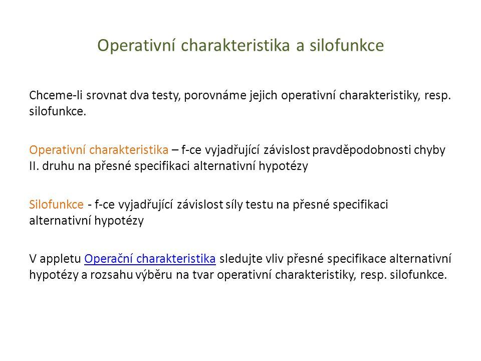 Operativní charakteristika a silofunkce Chceme-li srovnat dva testy, porovnáme jejich operativní charakteristiky, resp. silofunkce. Operativní charakt