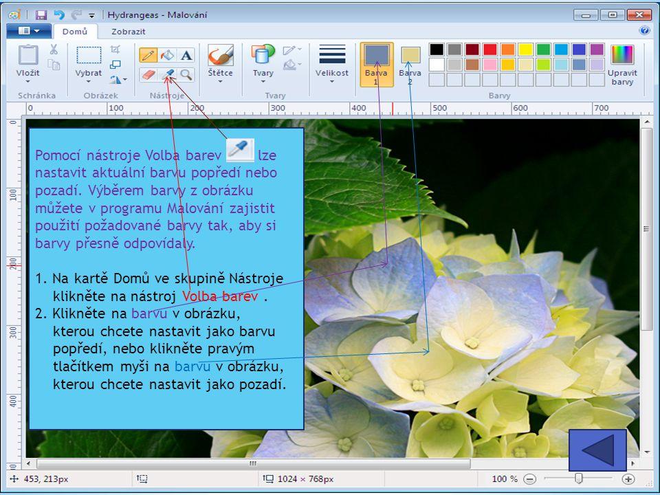 Pomocí nástroje Volba barev lze nastavit aktuální barvu popředí nebo pozadí.
