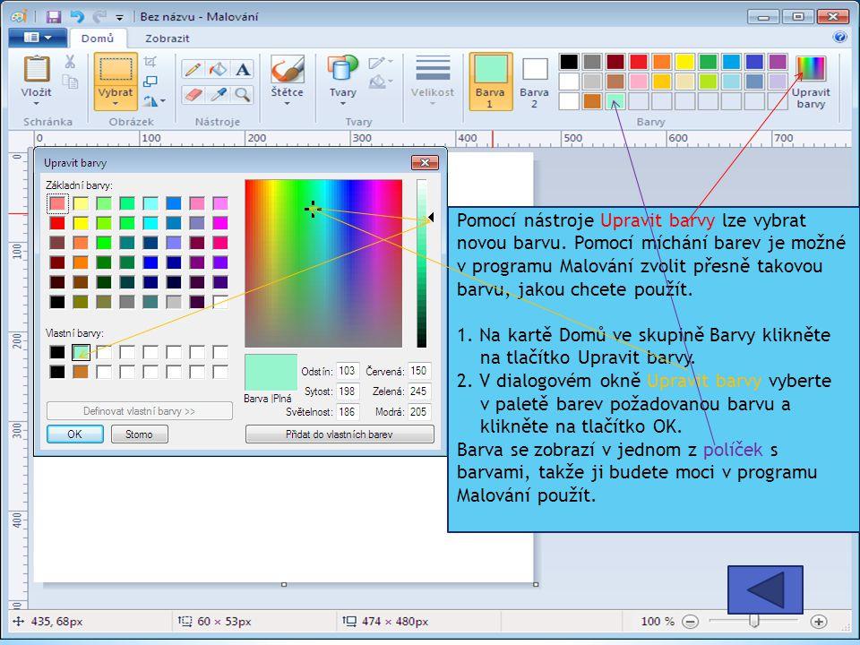 Pomocí nástroje Upravit barvy lze vybrat novou barvu.