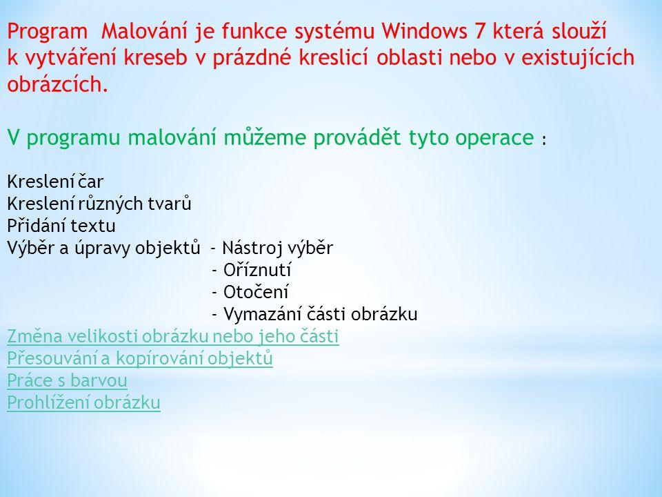 Program Malování je funkce systému Windows 7 která slouží k vytváření kreseb v prázdné kreslicí oblasti nebo v existujících obrázcích.
