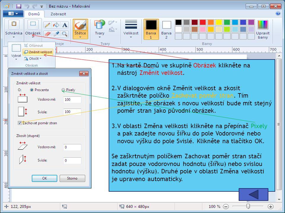 1.Na kartě Domů ve skupině Obrázek klikněte na nástroj Změnit velikost.