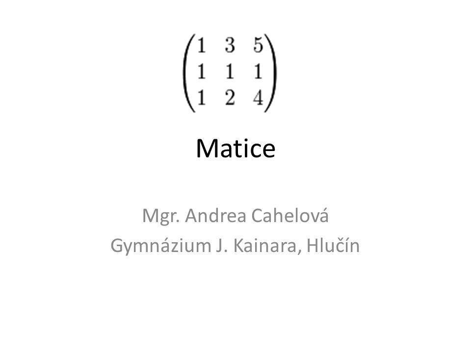 Matice Mgr. Andrea Cahelová Gymnázium J. Kainara, Hlučín