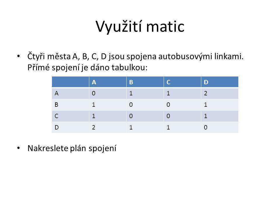 Využití matic Čtyři města A, B, C, D jsou spojena autobusovými linkami. Přímé spojení je dáno tabulkou: Nakreslete plán spojení ABCD A0112 B1001 C1001