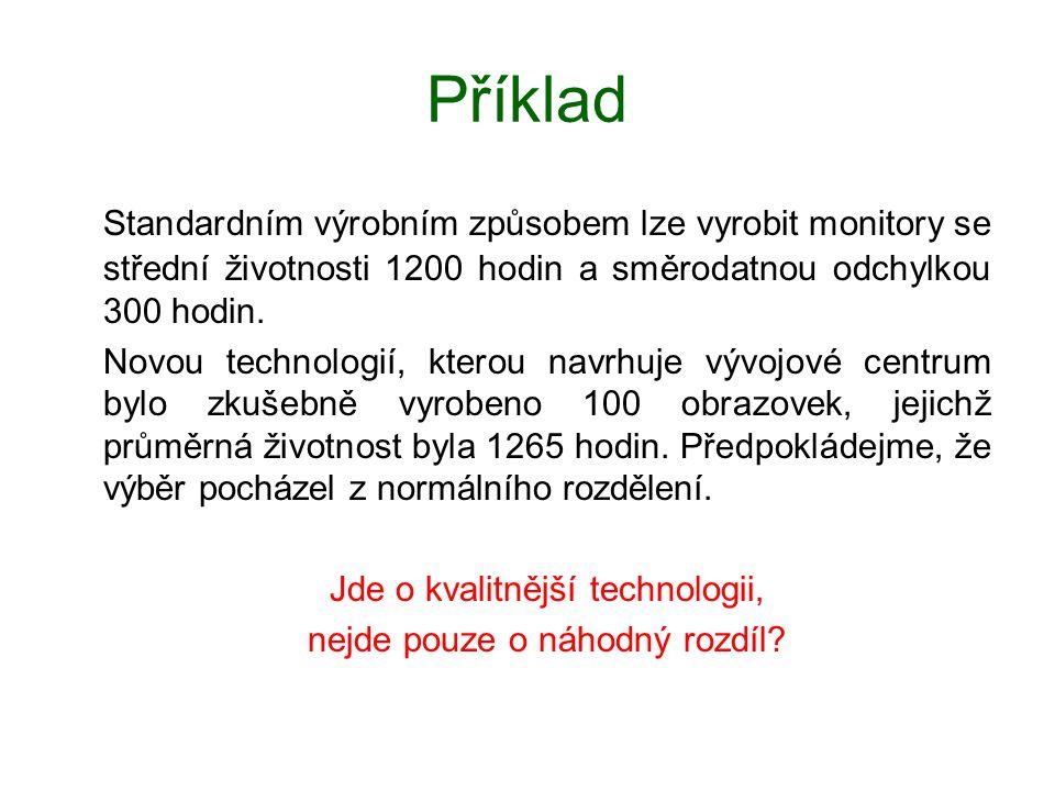 Příklad Standardním výrobním způsobem lze vyrobit monitory se střední životnosti 1200 hodin a směrodatnou odchylkou 300 hodin. Novou technologií, kter