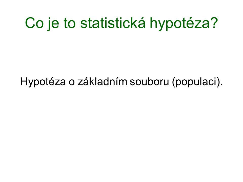 Co je to statistická hypotéza? Hypotéza o základním souboru (populaci).