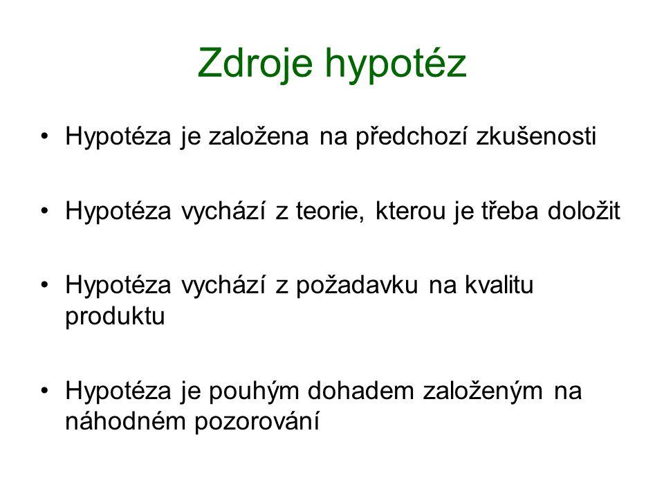 Zdroje hypotéz Hypotéza je založena na předchozí zkušenosti Hypotéza vychází z teorie, kterou je třeba doložit Hypotéza vychází z požadavku na kvalitu