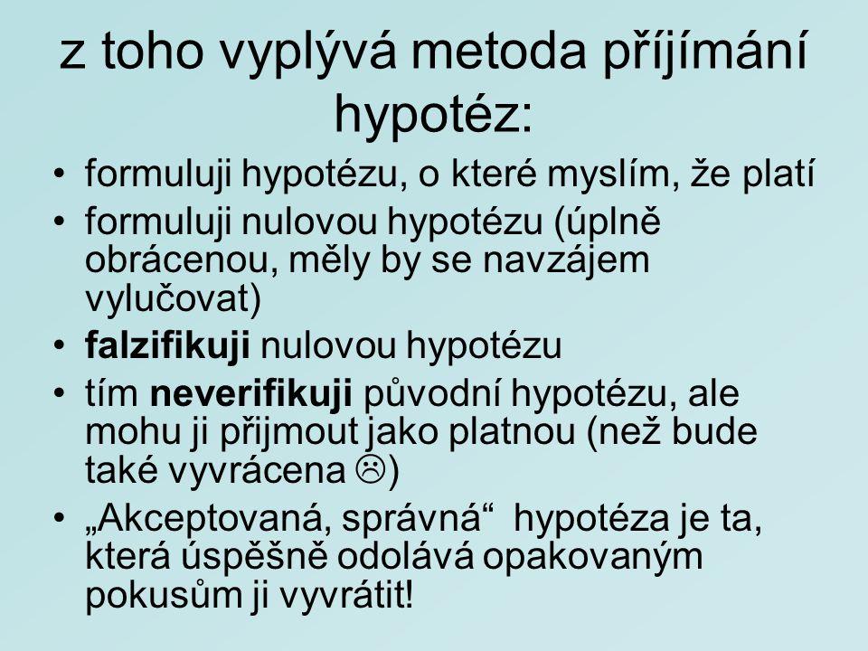 z toho vyplývá metoda příjímání hypotéz: formuluji hypotézu, o které myslím, že platí formuluji nulovou hypotézu (úplně obrácenou, měly by se navzájem