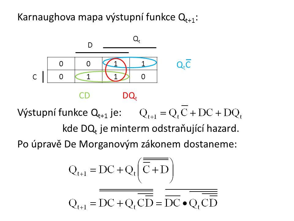 Karnaughova mapa výstupní funkce Q t+1 : Výstupní funkce Q t+1 je: kde DQ t je minterm odstraňující hazard.