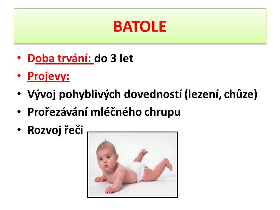 BATOLE Mladší batolivé (do 2 let) Tělesný vývoj se zpomaluje růst zubů, delší bdění, důležitý režim, návyky Na konci 2.