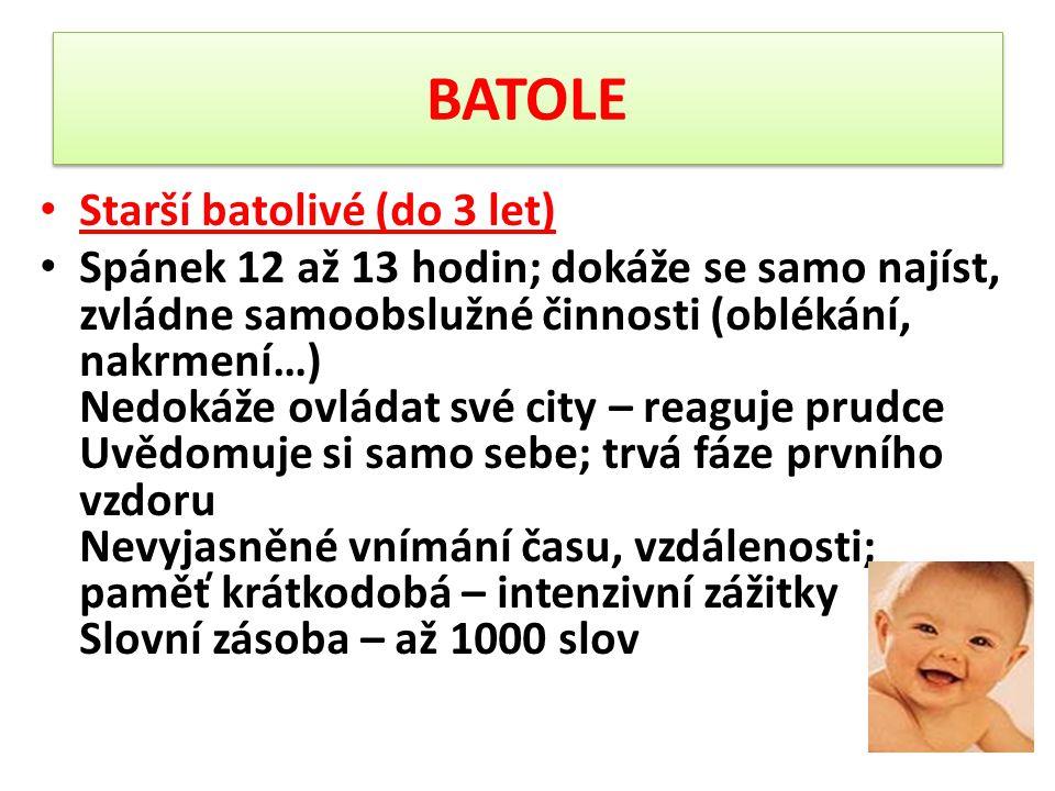 BATOLE Starší batolivé (do 3 let) Spánek 12 až 13 hodin; dokáže se samo najíst, zvládne samoobslužné činnosti (oblékání, nakrmení…) Nedokáže ovládat s