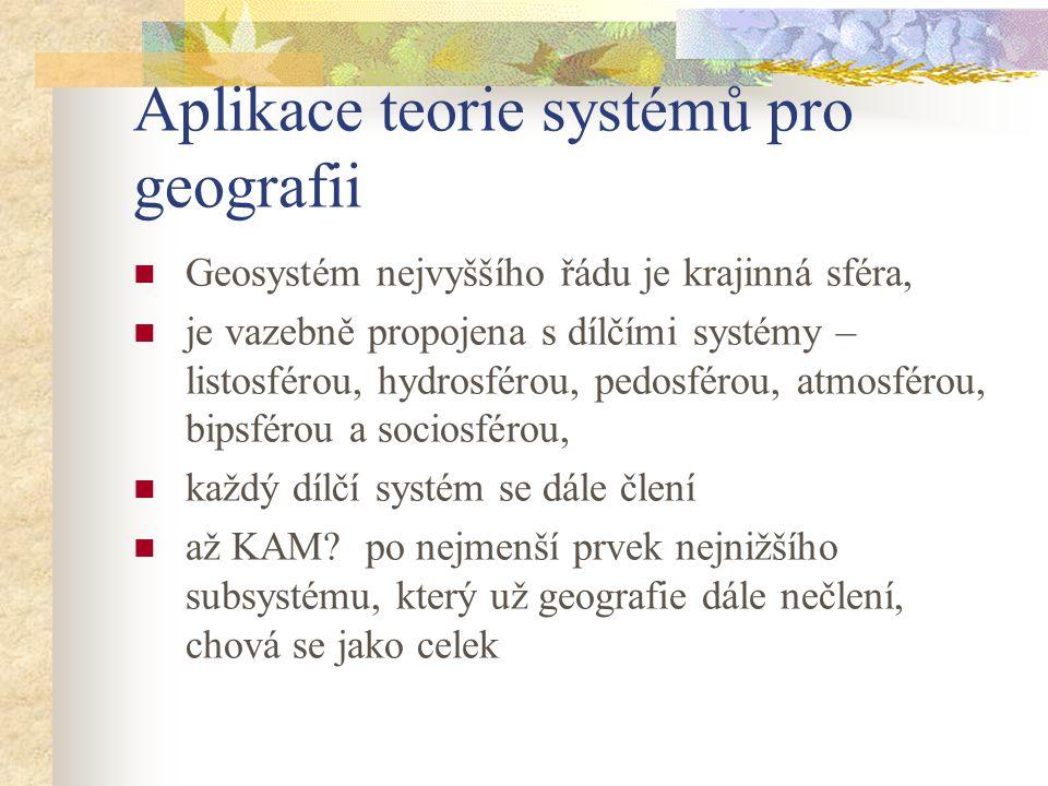 Aplikace teorie systémů pro geografii Geosystém nejvyššího řádu je krajinná sféra, je vazebně propojena s dílčími systémy – listosférou, hydrosférou,