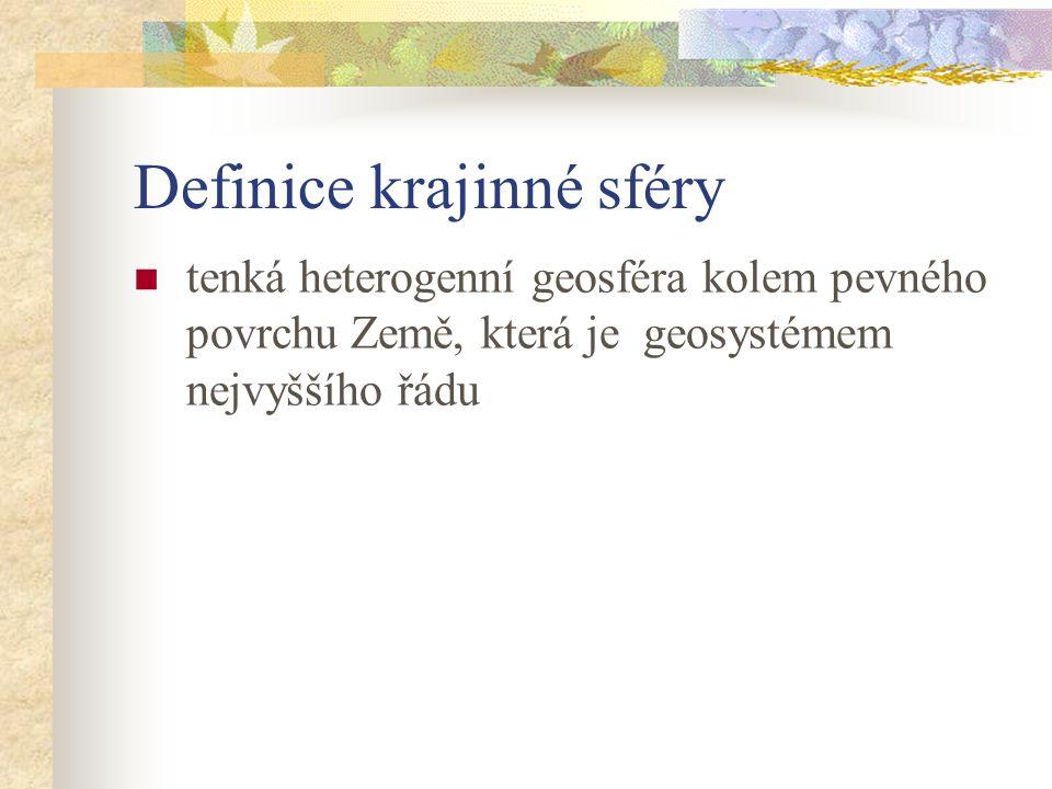 Definice krajinné sféry tenká heterogenní geosféra kolem pevného povrchu Země, která je geosystémem nejvyššího řádu