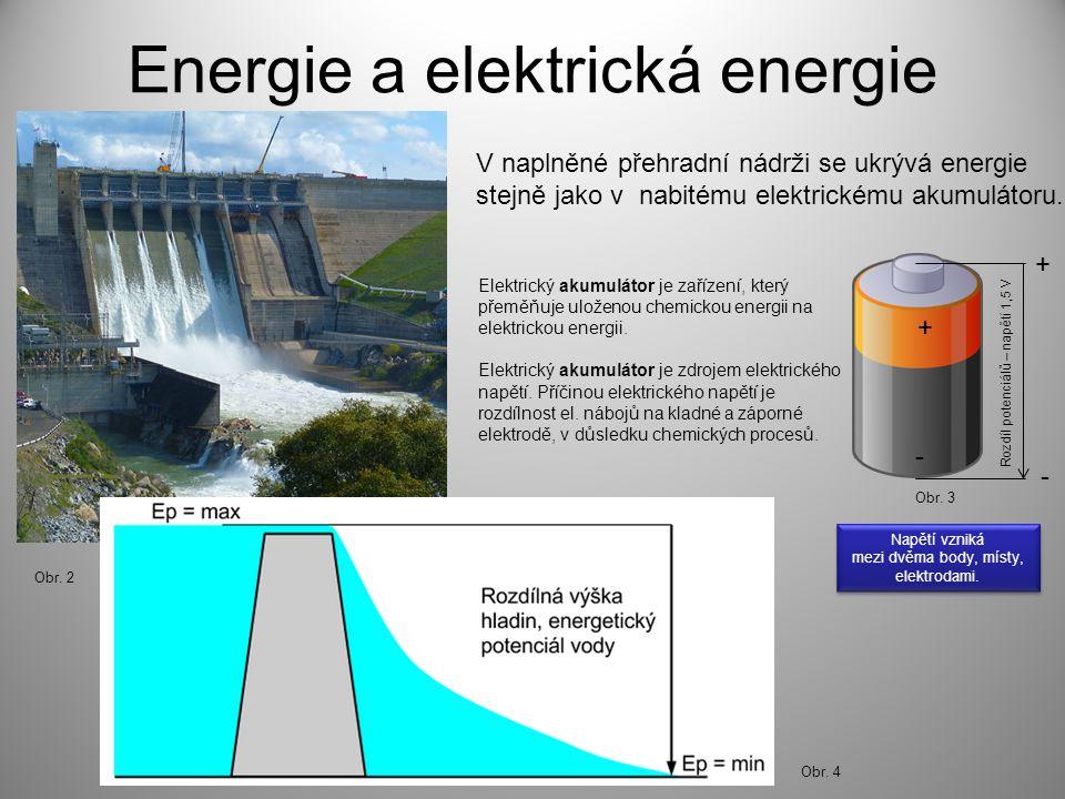 Energie a elektrická energie V naplněné přehradní nádrži se ukrývá energie stejně jako v nabitému elektrickému akumulátoru. Elektrický akumulátor je z