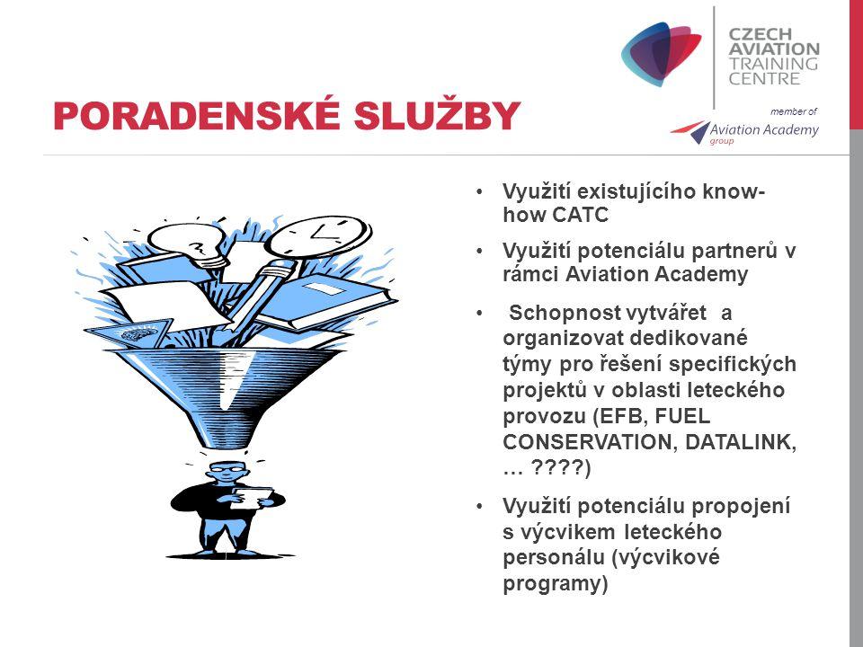 member of PORADENSKÉ SLUŽBY Využití existujícího know- how CATC Využití potenciálu partnerů v rámci Aviation Academy Schopnost vytvářet a organizovat