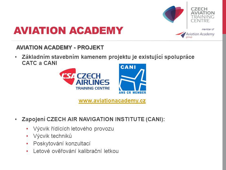 member of AVIATION ACADEMY AVIATION ACADEMY - PROJEKT Základním stavebním kamenem projektu je existující spolupráce CATC a CANI www.aviationacademy.cz
