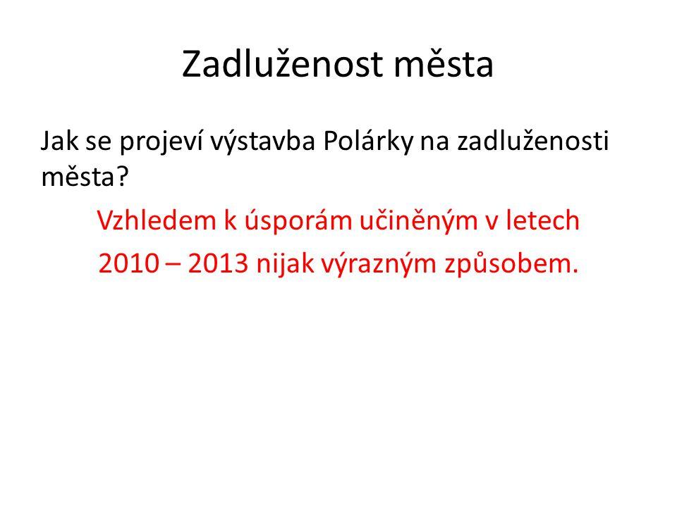 Zadluženost města Jak se projeví výstavba Polárky na zadluženosti města? Vzhledem k úsporám učiněným v letech 2010 – 2013 nijak výrazným způsobem.