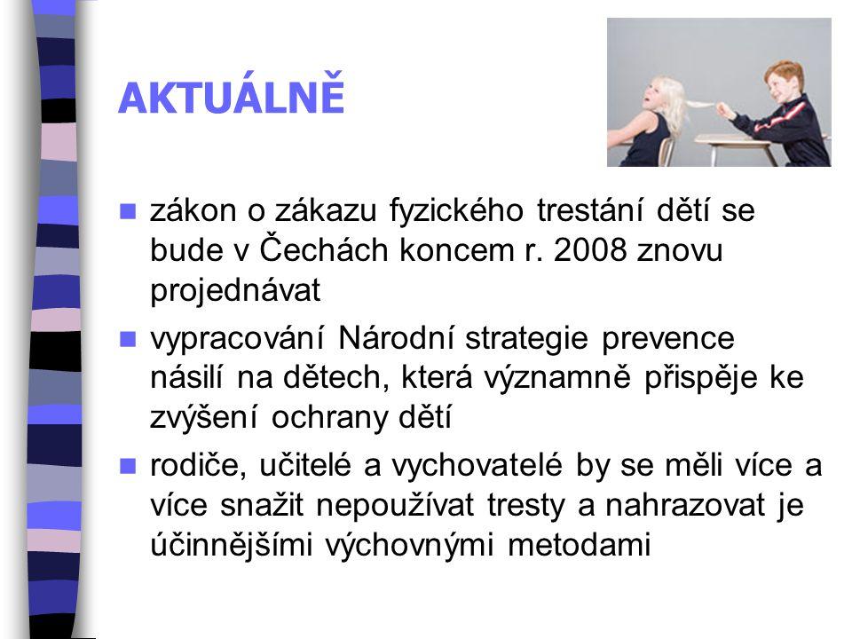 AKTUÁLNĚ zákon o zákazu fyzického trestání dětí se bude v Čechách koncem r. 2008 znovu projednávat vypracování Národní strategie prevence násilí na dě
