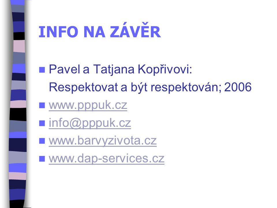 INFO NA ZÁVĚR Pavel a Tatjana Kopřivovi: Respektovat a být respektován; 2006 www.pppuk.cz info@pppuk.cz www.barvyzivota.cz www.dap-services.cz