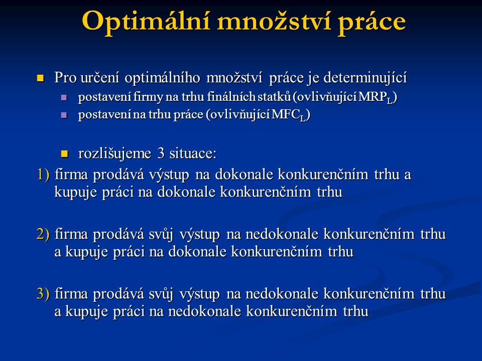 Optimální množství práce Pro určení optimálního množství práce je determinující Pro určení optimálního množství práce je determinující postavení firmy