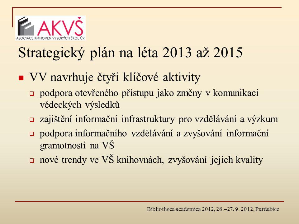 Strategický plán na léta 2013 až 2015 VV navrhuje čtyři klíčové aktivity  podpora otevřeného přístupu jako změny v komunikaci vědeckých výsledků  zajištění informační infrastruktury pro vzdělávání a výzkum  podpora informačního vzdělávání a zvyšování informační gramotnosti na VŠ  nové trendy ve VŠ knihovnách, zvyšování jejich kvality Bibliotheca academica 2012, 26.–27.